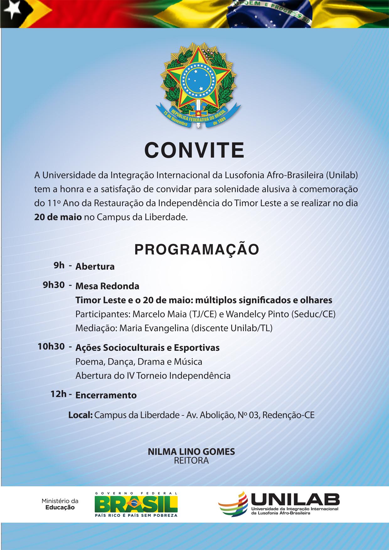 Convite independência timor 2013