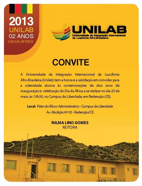 Convite aniversário da Unilab e Dia da África 2013