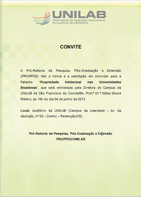 Convite Palestra Propriedade Intelectual