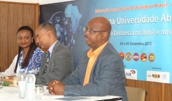 Reitora da Unilab, Nilma Lino Gomes; Presidente da  IUE, Florêncio Varella; Ministro de Ensino  Superios de Cabo Verde, António C. e Silva