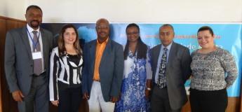 (esq. p/ dir.) Ministro de Educação, George Bom Jesus, o Presidente da IUE, Florêncio Varella e o Ministro da Educação Superior de Cabo Verde, António C. e Silva, acompanhados da Delegação da Unilab.