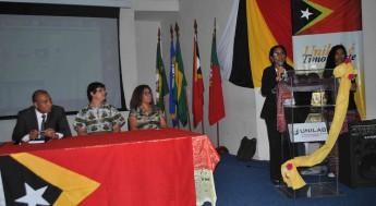 Estudante timorense do curso de Ciências da Natureza e Matemática, Brígida da Silva Pinto e Cruz.