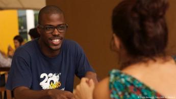 João Teixeira, de Guiné-Bissau, durante as gravações do filme.