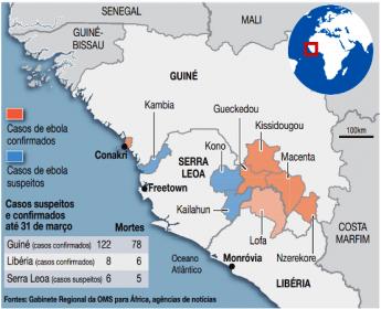 Mapa dos países africanos que possuem casos do vírus ebola.
