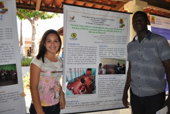 Nadila Lima e Faustino Rodrigues estão entre os estudantes com trabalhos expostos na I Semana Universitária da Unilab