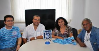 Representantes do bloco se reúnem com o vice-reitor da Unilab, Aristeu Lima, e com a consultora de Arte e Cultura, Vanéssia Gomes.