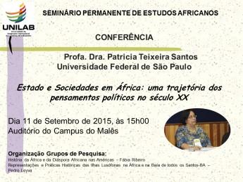 CARTAZ CONFERÊNCIA PROFESSORA PATRÍCIA