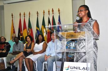 Nilma Lino Gomes, em sua apresentação à comunidade acadêmica como reitora da Unilab (Foto: Assecom/Unilab)