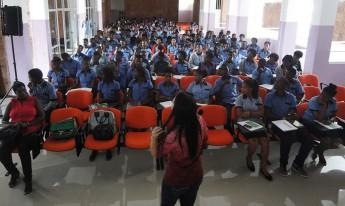 Palestra sobre a Unilab para alunos do último ciclo do Ensino Secundário, no Liceu Amílcar Cabral, em Assomada (interior da ilha de Santiago).