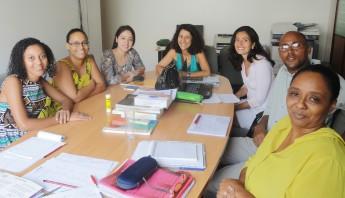 Reunião no Centro Cultural Brasil-Cabo Verde, com a diretora Marilene Pereira e a equipe de Língua Portuguesa