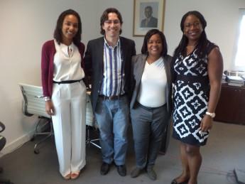 Reunião no INAGBE - da esquerda à direita: Manuela Pinto, Diretora Adjunta INAGBE; Rodolfo Silva, representante da Unilab; Rossana Afonsr, Chefe de Departamento INAGBE; e Honorine Pinto, Cooperação Técnica.