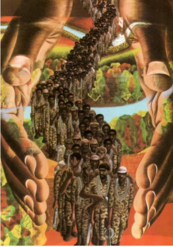 Detalhe de ilustração de António P. Domingues. In: Eugénia Neto. As nossas mãos constroem a liberdade. Luanda: INALD, 1979, P. 41.