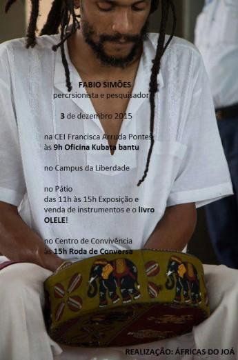O percussionista e pesquisador Fábio Simões ministrará uma série de atividades nesta quinta-feira (3). Foto: divulgação.