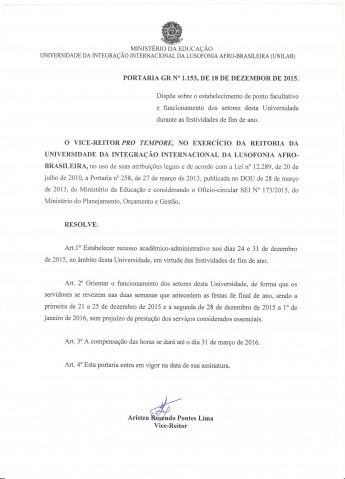 PORTARIA 1153-2015 - ESTABELECE RECESSO FIM DE ANO.doc