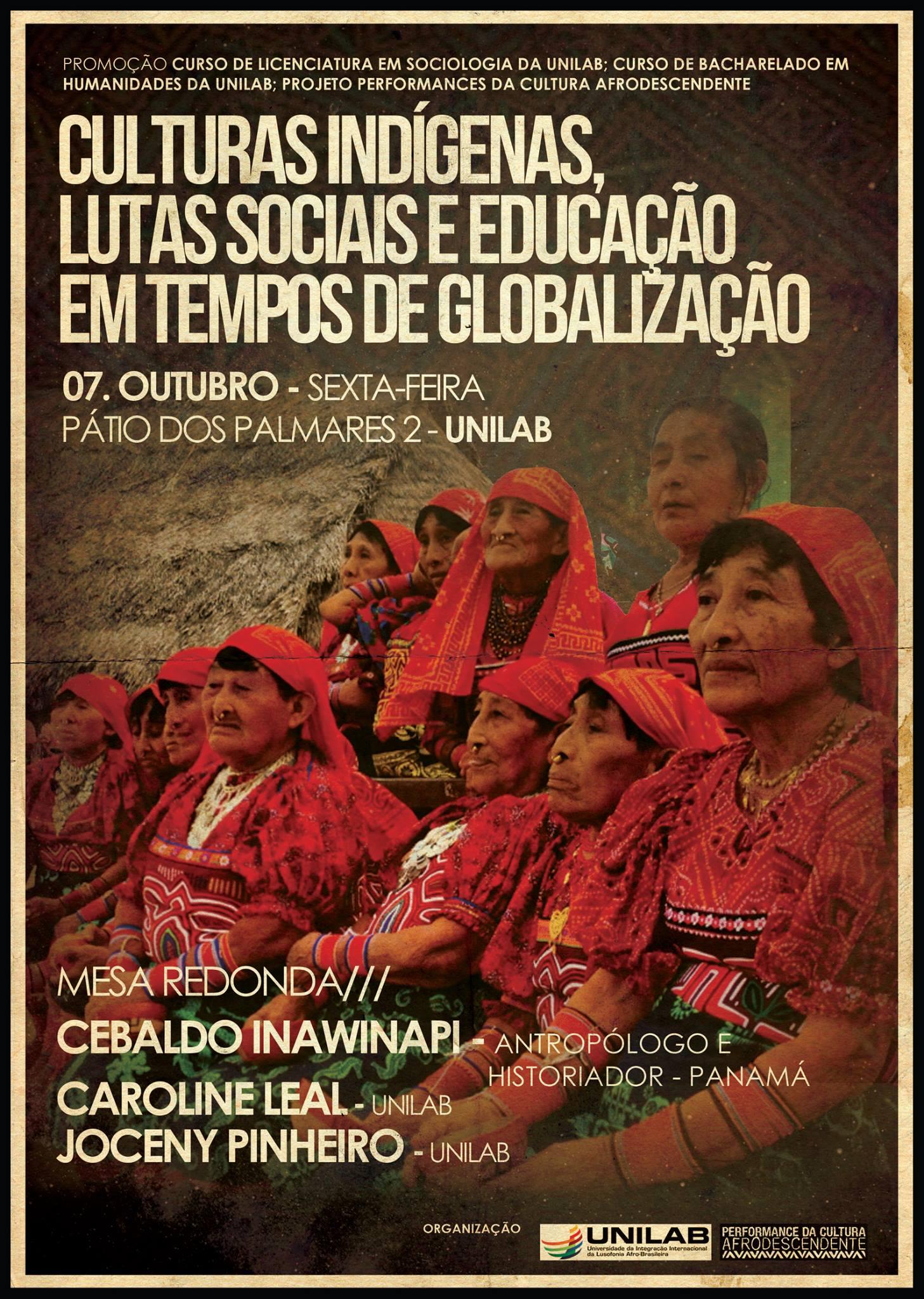 Cartaz: Mesa Redonda: Culturas indígenas, lutas sociais e educação em tempos de globalização