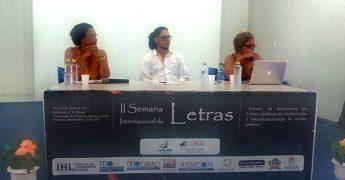 Da esquerda para a direita: Sueli Saraiva,Ondjaki eRita Chaves.
